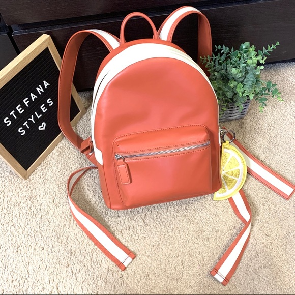 charles & keith Handbags - Charles & Keith Orange Zipper Compartment Backpack